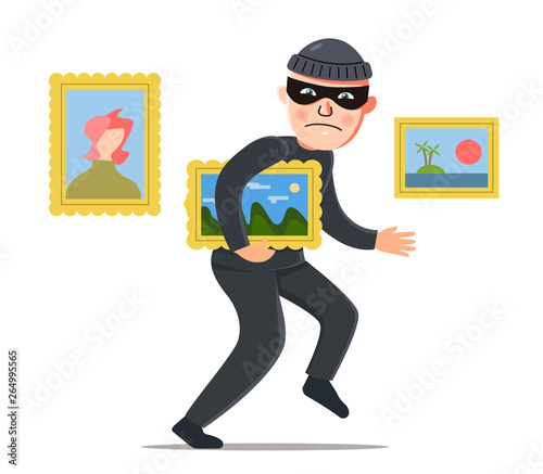 Canvas Print a thief steals a painting from a museum