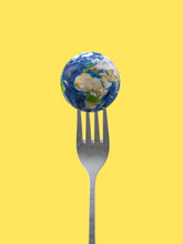 Earth Planet On On A Fork
