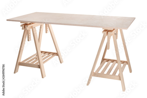 Vászonkép work table, wooden plywood shelf on two trestles, isolated on white background,