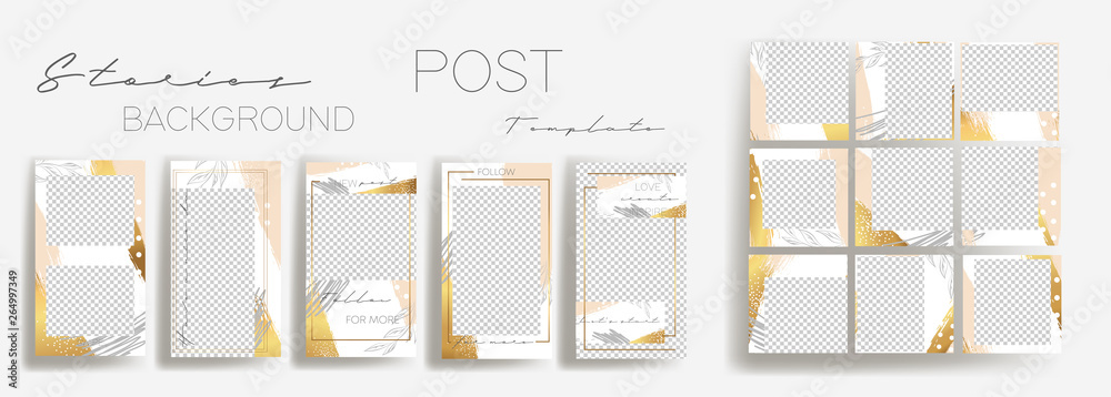 Fototapeta  Design backgrounds for social media banner.Set of instagram stories and post frame templates.Vector cover. Mockup for personal blog or shop.Layout for promotion.Endless rose gold square puzzle.