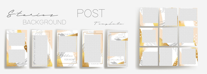 Design backgrounds for social media banner.Set of instagram stories and post frame templates.Vector cover. Mockup for personal blog or shop.Layout for promotion.Endless rose gold square puzzle.