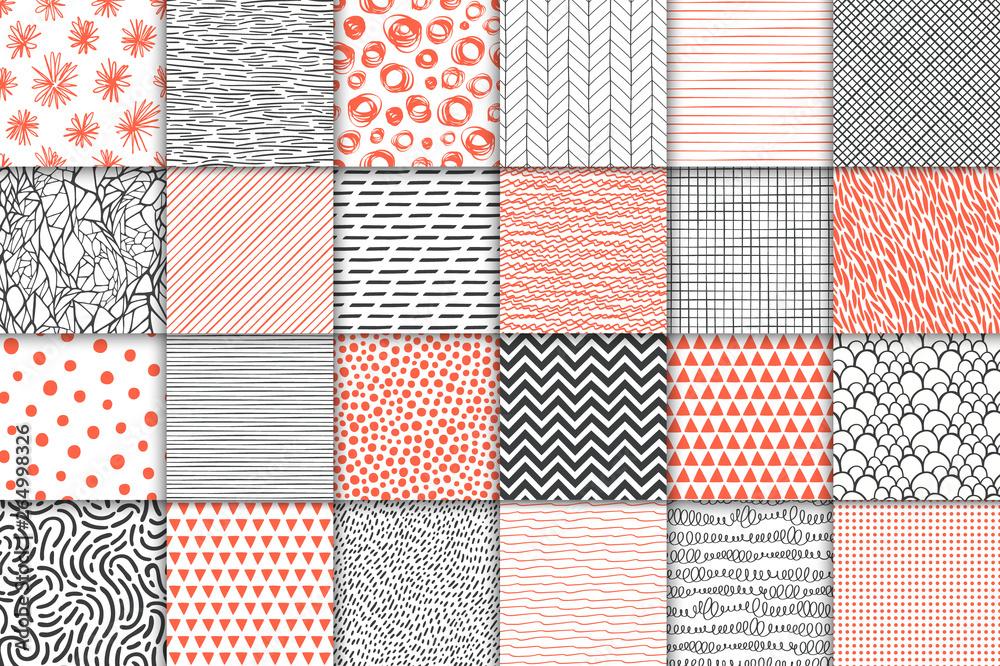 Fototapeta Abstract hand drawn geometric simple minimalistic seamless patterns set. Polka dot, stripes, waves, random symbols textures. Vector illustration