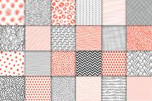 Abstract Hand Drawn Geometric Simple Minimalistic Seamless Patterns Set. Polka Dot, Stripes, Waves, Random Symbols Textures. Vector Illustration