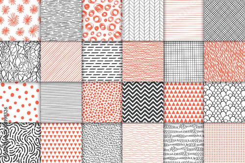 Obraz Abstract hand drawn geometric simple minimalistic seamless patterns set. Polka dot, stripes, waves, random symbols textures. Vector illustration - fototapety do salonu