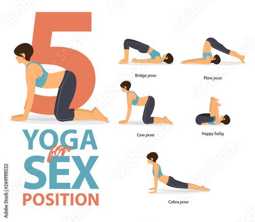 Set of yoga postures female figures Infographic Fototapet