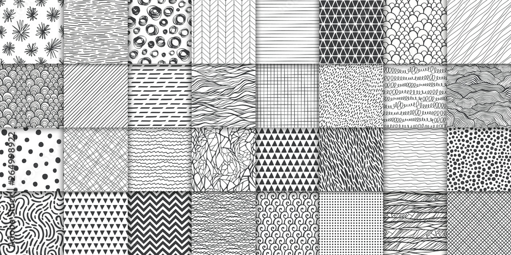 Fototapeta Abstract hand drawn geometric simple minimalistic seamless patterns set. Polka dot, stripes, waves, random symbols textures. Vector illustration