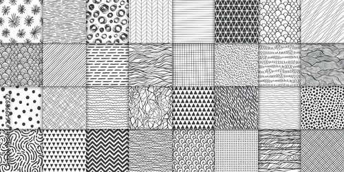 Abstract hand drawn geometric simple minimalistic seamless patterns set. Polka dot, stripes, waves, random symbols textures. Vector illustration