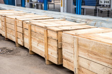 Many Big Wooden Cargo Containers Standing Outdoor