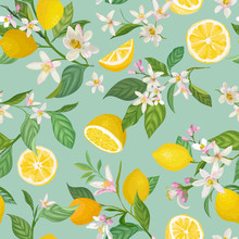 Seamless Lemon Pattern With Tr...