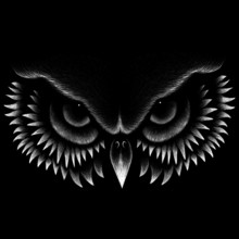 The Vector Logo Owl For Tattoo Or T-shirt Design Or Outwear.  Hunting Style Owl Background.