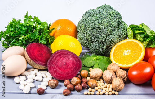 Healthy products and ingredients as source vitamin B9 (acidum folicum), natural minerals, concept of nutritious eating Fototapeta