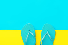 Pair Of Blue Rubber Beach Slip...