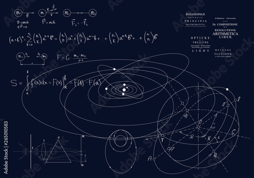 Fotografie, Tablou Formulas of classical mechanics, Newton's laws