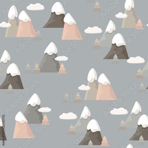 Fototapeten Künstlich Seamless pattern with mountains landscape. Travel Cartoon vector illustration.