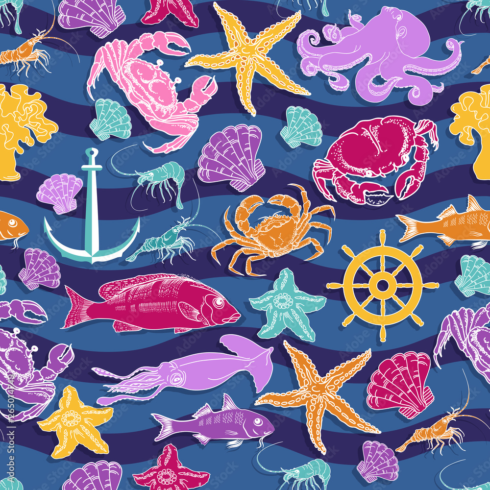 Vector seamless pattern on the marine-themed. Sea creatures.