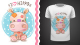 Fototapeta Dinusie - Hippo, hippopotamus - idea for print t-shirt