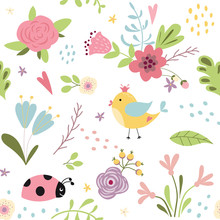 Seamless Pattern Of Cute Hand Drawn Colorful Flowers Childrish Style Kids Fabric Pattern