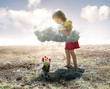 canvas print picture - Little girl and cloud
