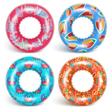 4 Inflatable Rings With A Pattern. A Set Of Accessories For Swimming. With A Pattern Of Fish And Sea Dwellers. Realistic Image. Isolated On White Background. Vector