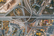 Aerial view of highway and overpass intersection