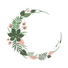 Round Frame Of Tropical Leaves And Flowers. Unique Design Of Greeting Card Template
