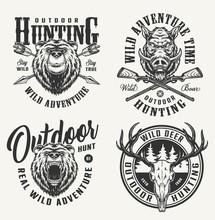 Vintage Monochrome Hunting Badges