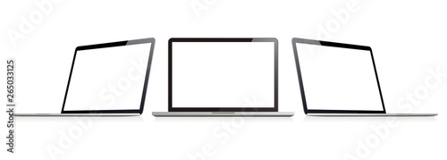 Cuadros en Lienzo Laptop set in mockup style or isometric notebook