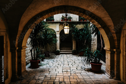 Photographie  Bari, Italy - March 12, 2019: Interior atrium of a typical dwelling in Italian renancentist style
