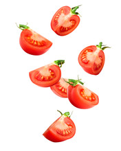Falling Tomato Isolated On White Background, Clipping Path, Full Depth Of Field