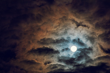 Full moon and cloudy sky, mysterious night atmosphere, fantasy and mysterious moonlight concept, copy space