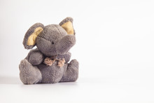 Funny Cute Grey Gray Plush Elephant Toy Isolated On Color Background. Isolated, Blue, Red, White. Copy Space For Text.