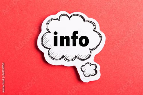 Fototapeta Info Speech Bubble Isolated On Red Background obraz