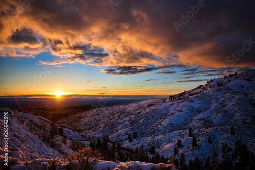 Sunset over snowy foothills near Boise Idaho #265042590