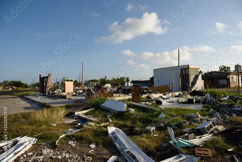 Photo Hurricane Harvey, major wind damage and building destruction, Rockport