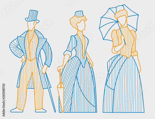 Linear figures of ladies and dzhenmen in clothes of the 19th century Tableau sur Toile