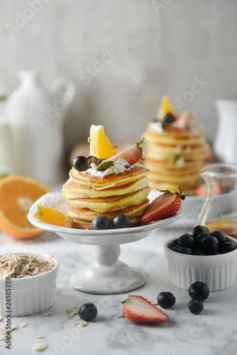 Beautiful dessert, fresh pancakes with blueberries