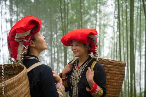 Fotografie, Obraz  Portrait of Vietnamese ethnic minority Red Dao women in traditional dress and ba