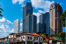 2019 March 1st., Singapore - View Of The Modern And Old Chinese Traditional Buildings In The City.