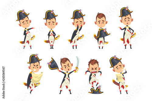 Fototapeta Napoleon Bonaparte cartoon character, French historical figure in different situ