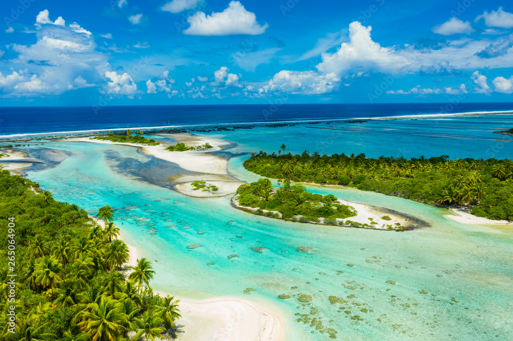 Fototapeta Rangiroa aerial drone video of atoll island motu and coral reef in French Polynesia, Tahiti. Amazing nature landscape with blue lagoon and Pacific Ocean. Tropical island paradise in Tuamotus Islands.