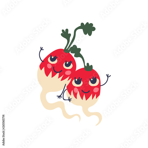 Cute Couple of Radishes with Funny Faces, Adorable Happy Vegetables Cartoon Characters Vector Illustration