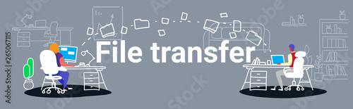 Carta da parati man woman transferring data folders sharing work files colleagues sitting at wor