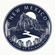 New Mexico. Tattoo And T-shirt Design. Welcome To State Of New Mexico (USA). The Land Of Enchantment Slogan. Travel Concept