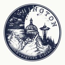 Washington. Tattoo And T-shirt Design. Welcome To Washington (USA).  Evergreen State Slogan. Travel Concept