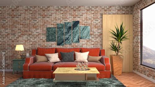 Fotobehang Retro Interior of the living room. 3D illustration