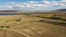 A Pan Along An Open Valley South Of Denver.  Chatfield Reservoir Is