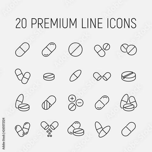 Fototapeta Premium set of pills line icons. obraz na płótnie