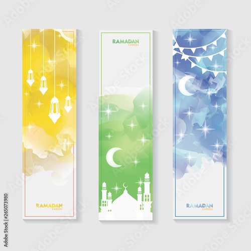 Poster Abstract wave Ramadan Kareem Banner Set. Colorful Watercolor Cloud Ramadan Celebration Banner, Vector Illustration for greeting card, poster and voucher.