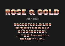 Rose Gold Metallic Font And Alphabet. Vector Luxury Premium Letters And Numbers
