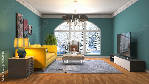 Fotomural  Interior of the living room. 3D illustration